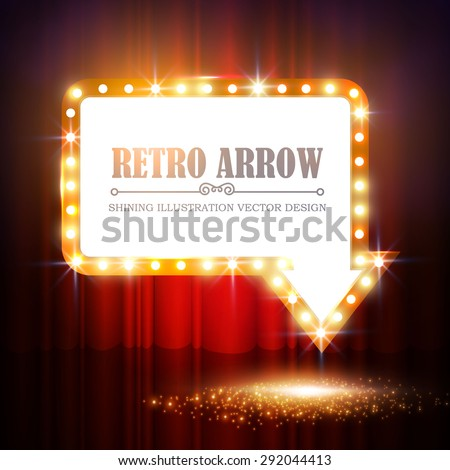 shining arrow banner on stage