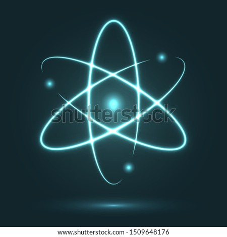 Shining atom on a black background. Vector illustration. Scientific symbol of physics and nuclear energy. Neon lights orbiting model. Energy concept with Nucleus of atom and rotating electrons.