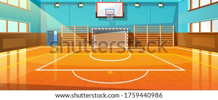 Shining basketball court with wooden floor vector illustration. Modern indoor stadium illuminated with spotlights cartoon design. Championship or tournament. Sport arena or hall for team games concept