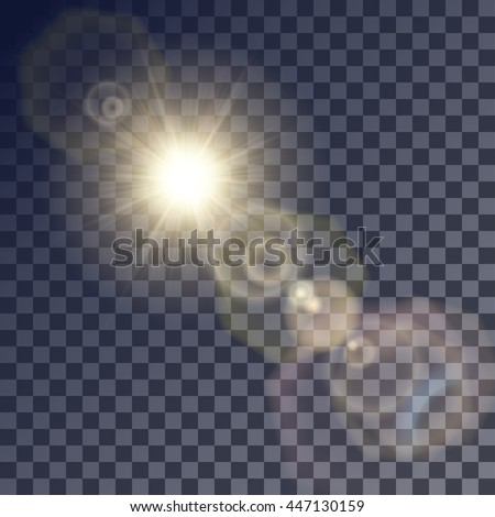Shining beige vector golden sun with colorful light effects. Flares and gleams rounded and hexagonal shapes, blue glint.