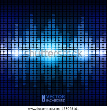 Shining blue digital equalizer background with flares. RGB EPS 10 vector illustration
