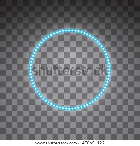 Shining blue led vector circle frames, neon illumination on transparent background. Glowing decorative circle tapes of diode ecological lamps light effect for banners, web-sites