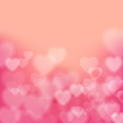 Shining bokeh effect hearts pink vector background