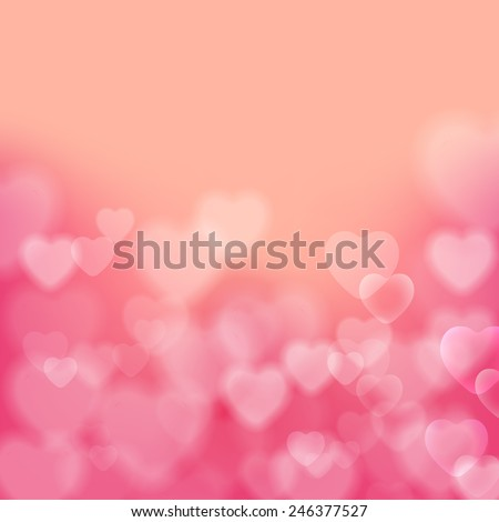 Stock Photo Shining bokeh effect hearts pink vector background