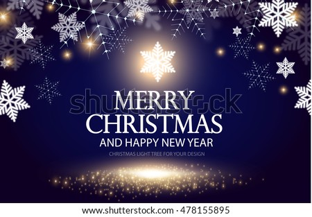 Shining Christmas Background. Christmas Lights. Happy New Year Banner. Elegant Snow Template. Vector illustration