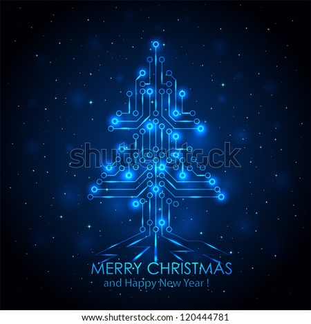 Shining Christmas tree from a digital electronic circuit, illustration.