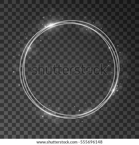 Shining circle shining frame. Isolated on black transparent background. Vector illustration, eps 10.