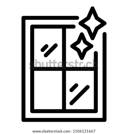 Shining clean window icon. Outline shining clean window vector icon for web design isolated on white background