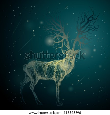 shining deer on the night sky