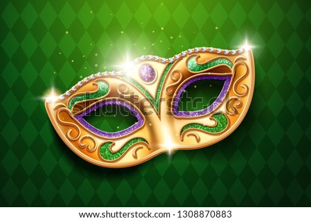 Shining diamonds on carnival mask. Colombina face cover for masquerade or costume party. Man and woman ball masque for theater or opera, mardi gras festival or brazil parade. Fashion and holiday theme