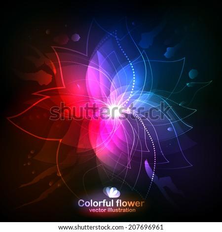 shining flower on a dark
