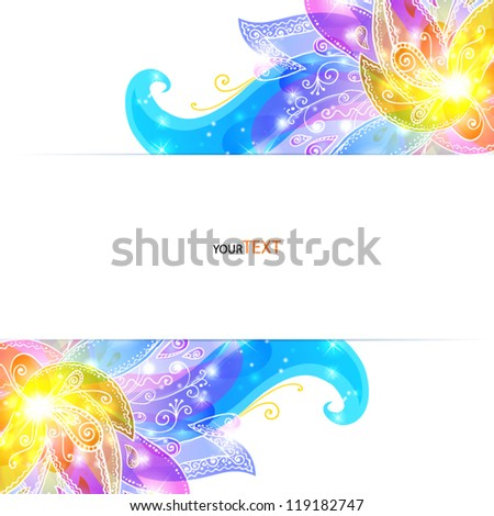 Shining flowers vector background brochure cover template