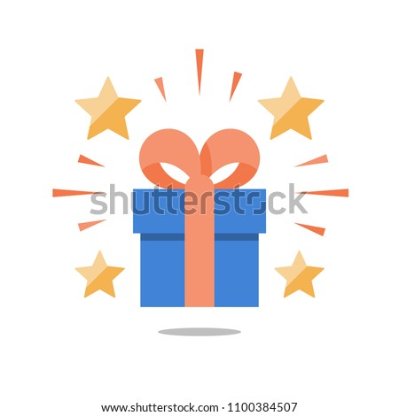 Shining gift with stars, present box with ribbon, surprising big gift, reward program, special prize, flat icon, vector illustration