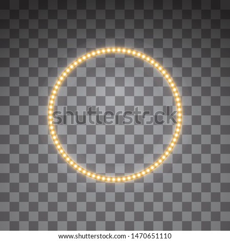Shining golden led vector circle frames, neon illumination on transparent background. Glowing decorative circle tapes of diode ecological lamps light effect for banners, web-sites
