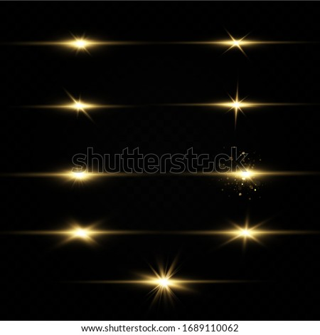 Shining golden stars isolated on black background. Effects, glare, lines, glitter, explosion, golden light. Vector illustration.Set.