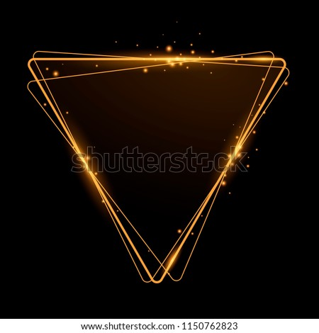 Shining golden triangle. Frame with lighting effects. Vector illustration. Space for text