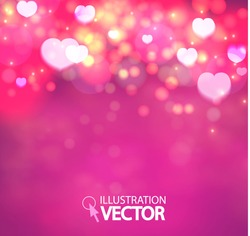 Shining heart bokeh background. Valentine background. Vector illustration
