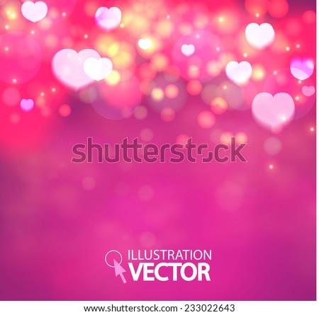 shining heart bokeh background