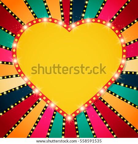 shining heart on retro colorful ...