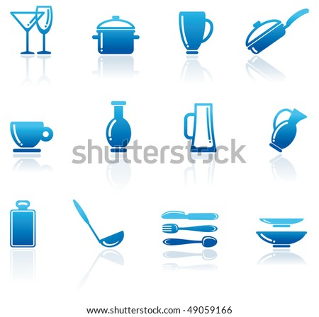 Shining icons of kitchen ware