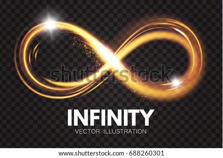 Shining Infinity Symbol. Transparent Sign. Vector illustration
