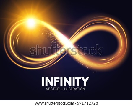 Shining Infinity Symbol. Transparent Sign. Vector illustration