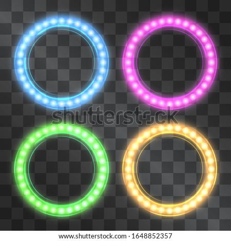 Shining led vector circle frames, neon illumination on transparent background, set of pink, blue, yellow, green glowing decorative ring tapes of diode ecological lamps light for banners, web-sites.