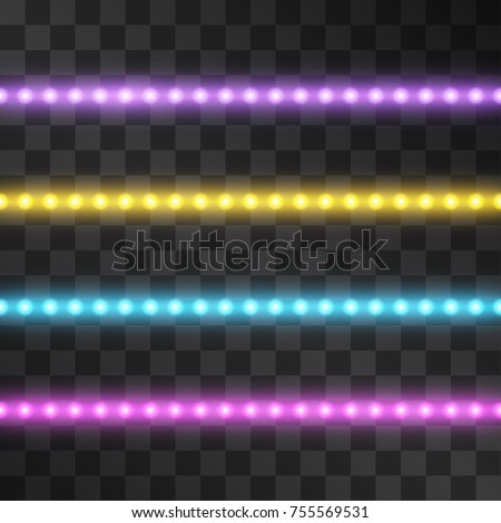 Shining led vector stripes, neon illumination on transparent background, set of pink, yellow, purple, blue glowing decorative tapes of diode ecological lamps light effect for banners, web-sites.