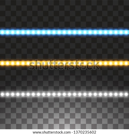 Shining led vector stripes, neon illumination on transparent background, set of yellow, white, blue glowing decorative tapes of diode ecological lamps light effect for banners, web-sites