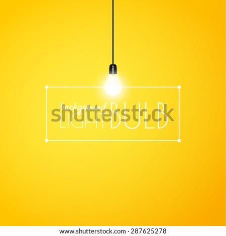 shining light bulb on a yellow