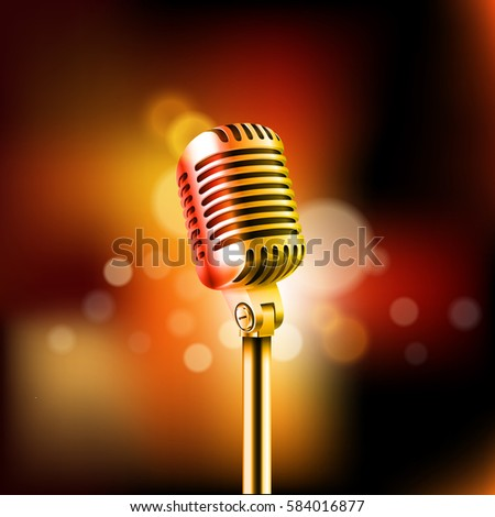Shining microphone vector illustration. Standup comedy show concept