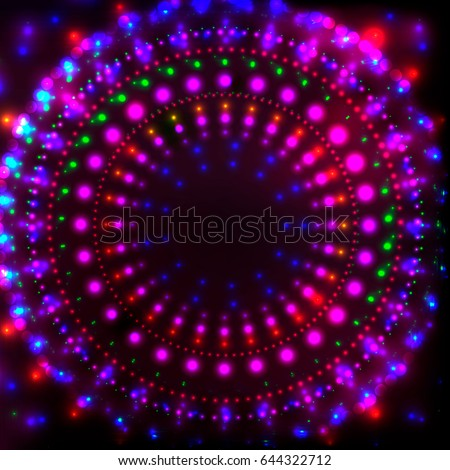 Shining Neon Disco Background for Disco Banner.Neon Round Tunnel of Neon Shining Dots,Colorful Flares.Colorful Abstract Cyber Background with Neon glowing Points,Shining Flares,Disco Night Concept.