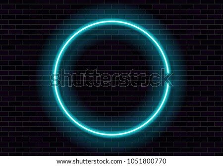 shining neon frame on brick