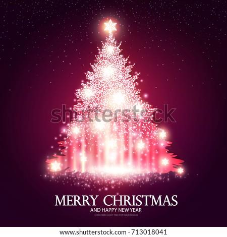 shining pink christmas tree on