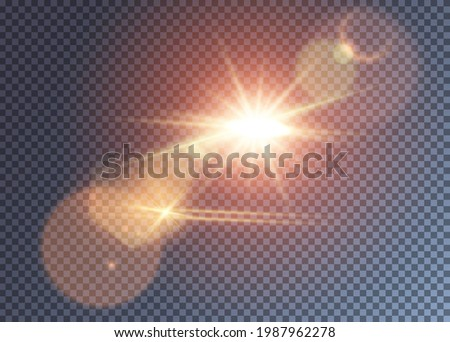 Shining reddish vector sun with lens flare effect. Colorful realistic glimpes and halo. Hot summer day illustration Stock photo ©