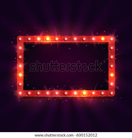 Shining retro billboard. Vintage bright sign board for your design. Vector illustration.