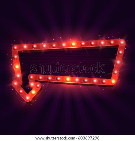 Shining retro billboard. Vintage bright sign board for your design. Vector illustration. #603697298