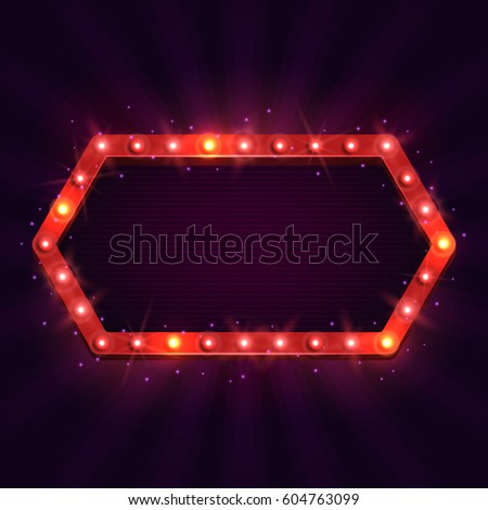 Shining retro billboard. Vintage bright sign board for your design. Vector illustration. #604763099