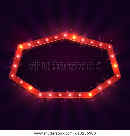 Shining retro billboard. Vintage bright sign board for your design. Vector illustration. #610236908