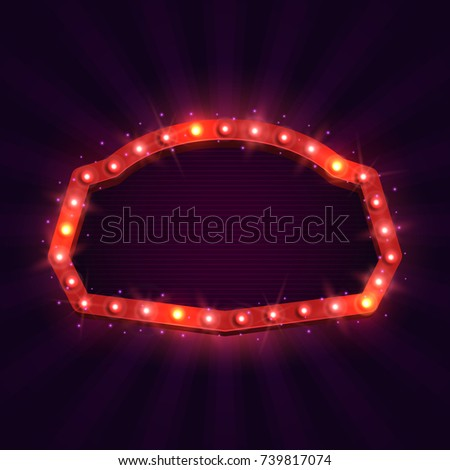 Shining retro billboard. Vintage bright sign board for your design. Vector illustration. #739817074