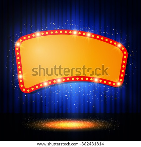 shining retro casino banner on stage curtain vector illustration show light podium purple background