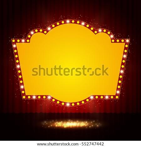 shining retro casino banner on...
