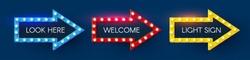 Shining retro light arrow sing set. Vintage banner with light bulbs. Cinema, theatre, ad, show and casino design.
