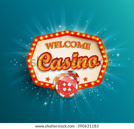 Shining retro light frame , vector illustration on a casino theme with lighting display and welcome text on blue background. Eps 10 design.