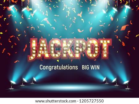 Shining retro sign Jackpot banner illuminated by spotlights and falling confetti. Vector illustration.