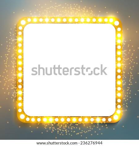 Shining retro square banner.  Vector illustration