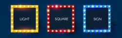 Shining retro square light sing set. Vintage banner with light bulbs. Cinema, theatre, ad, show and casino design.