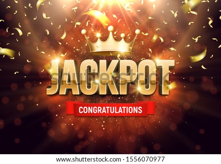Shining sign Jackpot with golden crown and falling confetti on a bright background. Vector illustration. Photo stock ©
