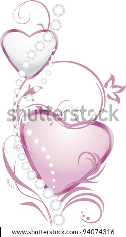 shining silver and pink hearts