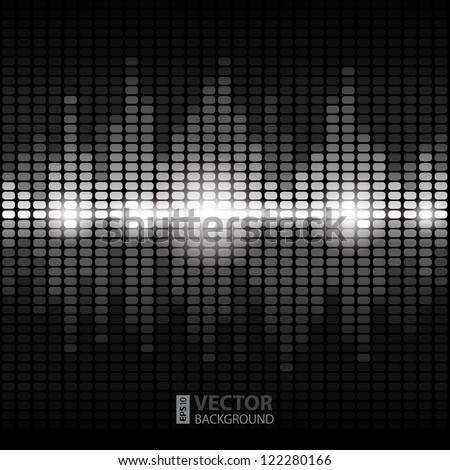 Shining silver digital equalizer background with flares. RGB EPS 10 vector illustration